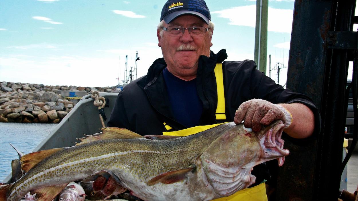 Un pêcheur tient une morue dans ses mains