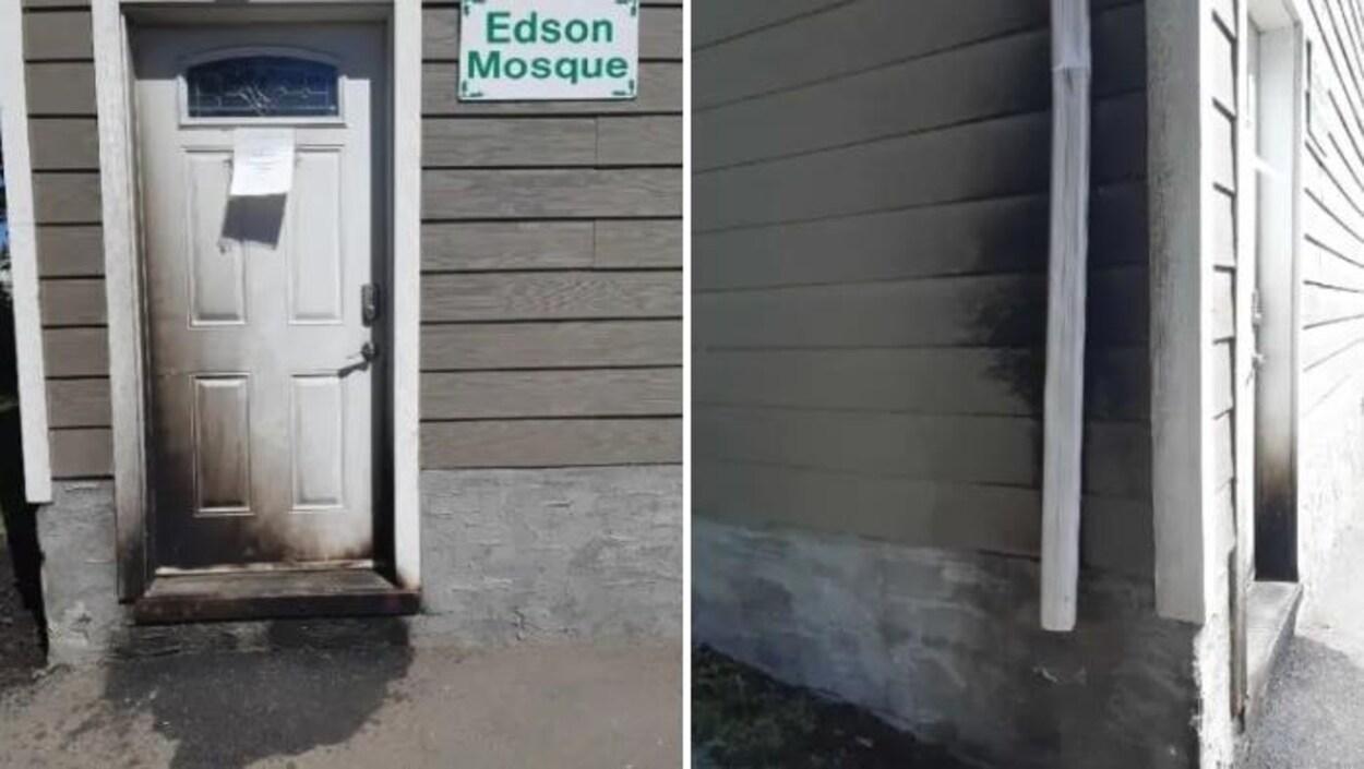 Les flammes ont endommagé la porte d'entrée et quelques revêtements de la mosquée d'Edson, en Alberta.