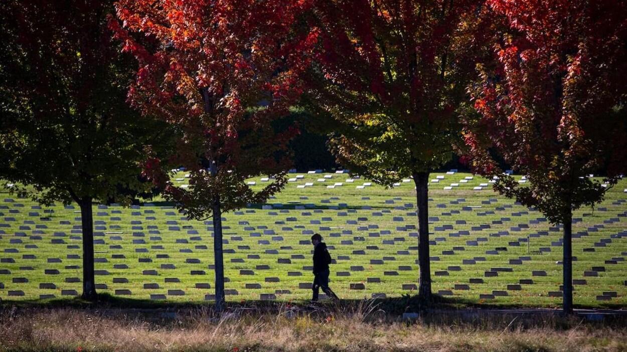 Une femme marche devant le cimetière Mountain View à Vancouver, où l'on voit des arbres aux feuilles rouges.