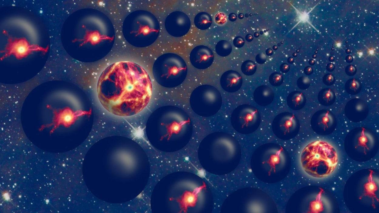 Représentation artistique d'un multivers.