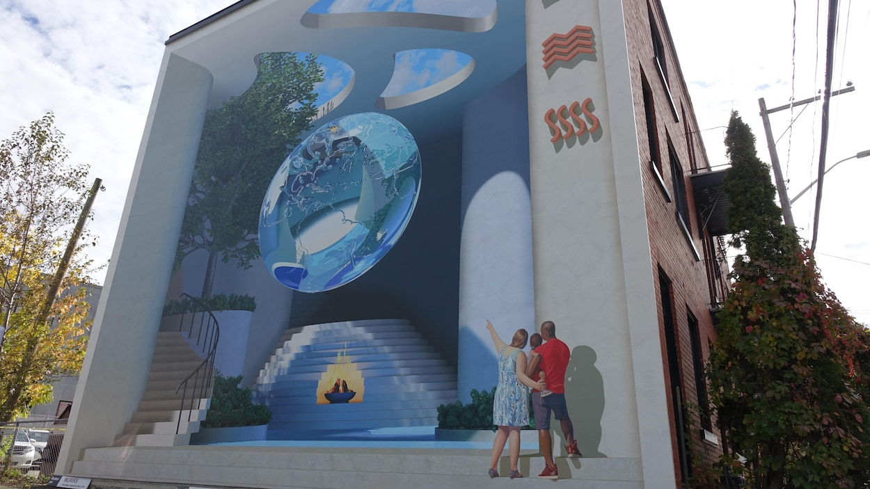 Une murale sur laquelle on peut apercevoir notamment du feu, de l'eau, un arbre et des nuages.