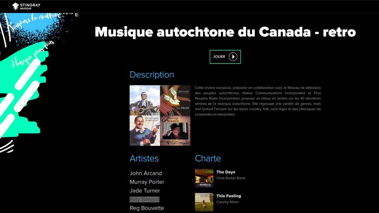Stingray Musique offre une chaîne intitulée « Musique autochtone du Canada - retro ».
