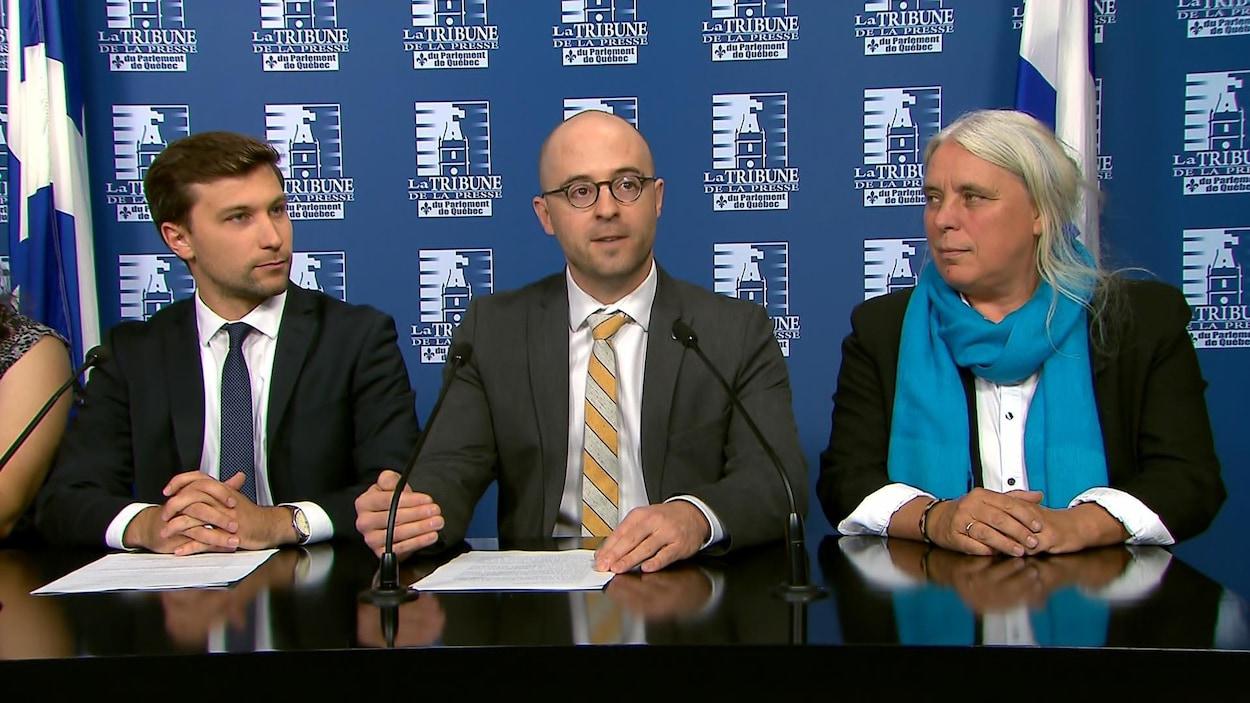 Gabriel Nadeau-Dubois, Sol Zanetti et Manon Massé