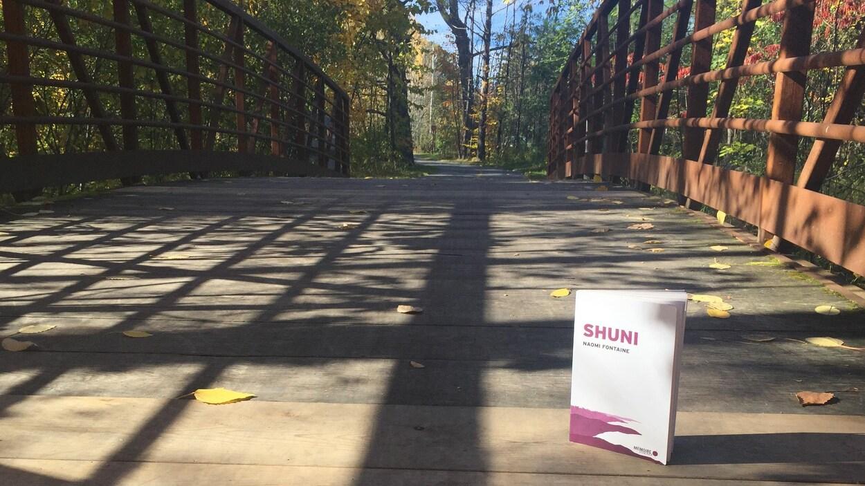 Le livre est posé sur un pont, sur une piste cyclable dans la forêt.