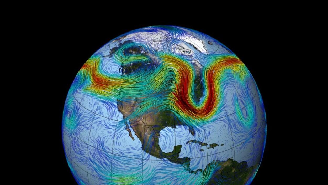 Représentation artistique du courant-jet polaire de l'hémisphère Nord.
