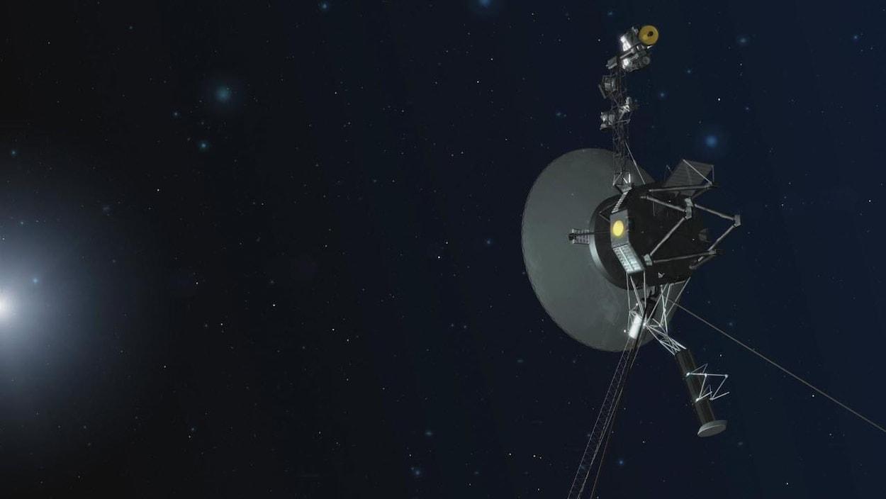 Impression artistique d'une sonde Voyager s'éloignant du système solaire.