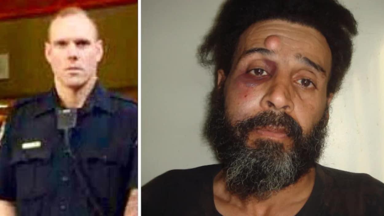 Image scindée. Le policier en uniforme à gauche. À droite, le visage tuméfié de M. El Hallak. Ce dernier a une grosse bosse sur le front et des ecchymoses autour de l'oeil.