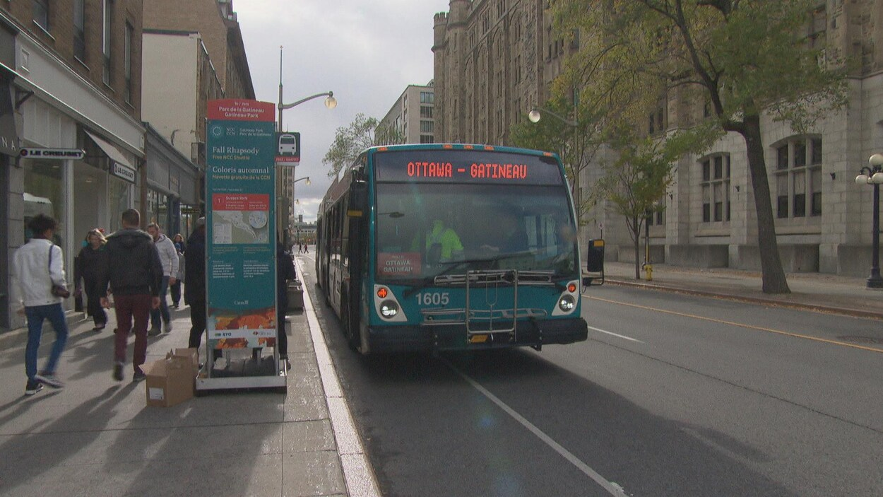 Un autobus de la STO sillonne une rue.