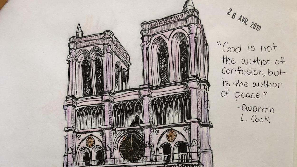 Le dessin de la cathédrale et cette citation de Quentin L. Cook : « God is not the author of confusion, but is the author of peace ».