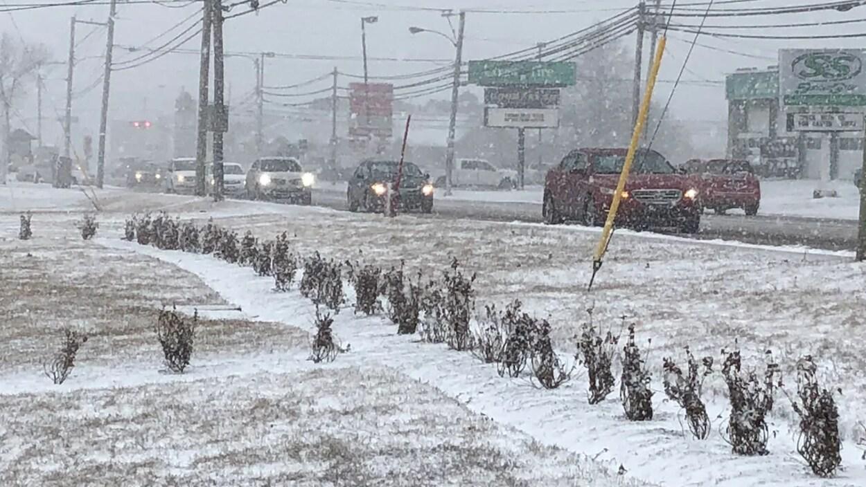 Des voitures qui roulent lentement sous la neige.