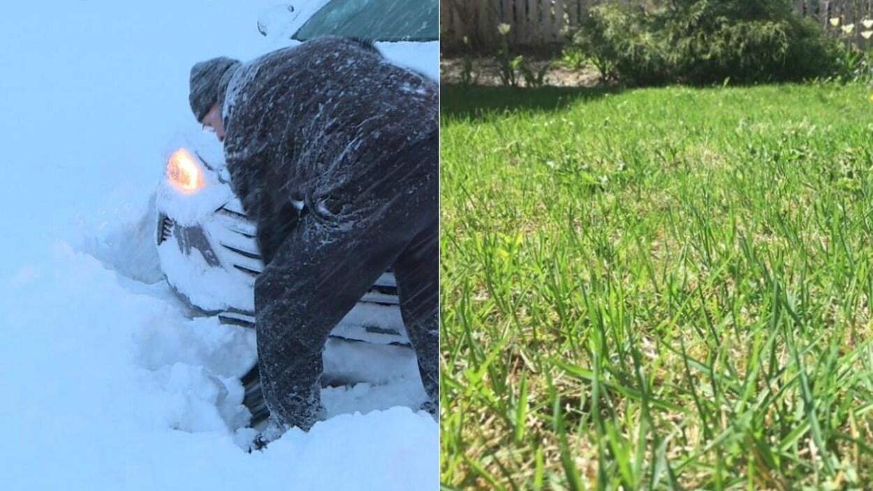 Photo d'un homme qui soulève une pelletée de neige à côté d'une photo d'un jardin fleuri.
