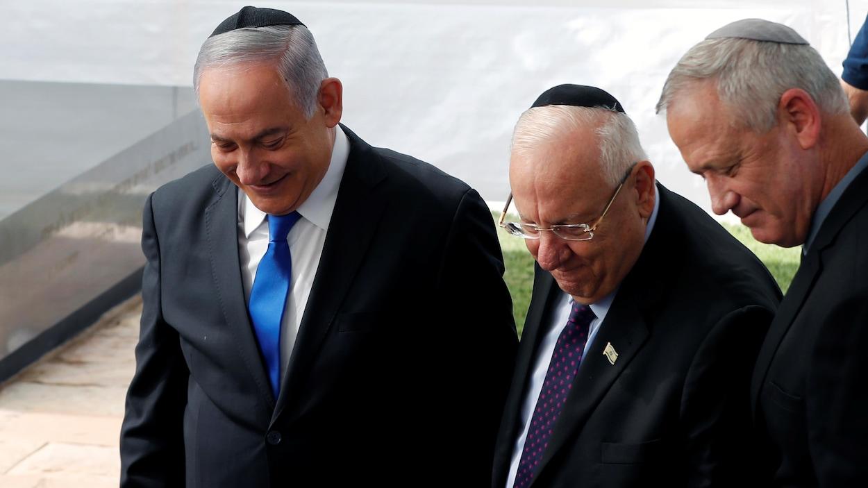 Le premier ministre israélien Benjamin Nétanyahou, le président israélien Reuven Rivlin et Benny Gantz, chef du parti Bleu et Blanc.