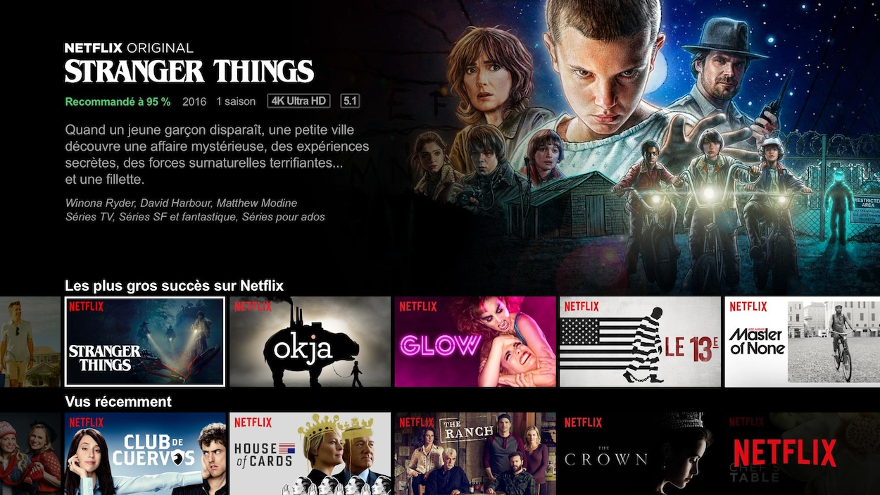 La description de la série « Stranger Things »  sur Netflix