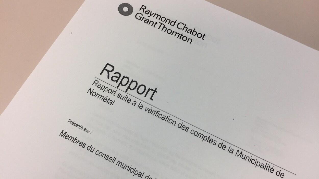 Le rapport de vérification des comptes de la municipalité de Normétal