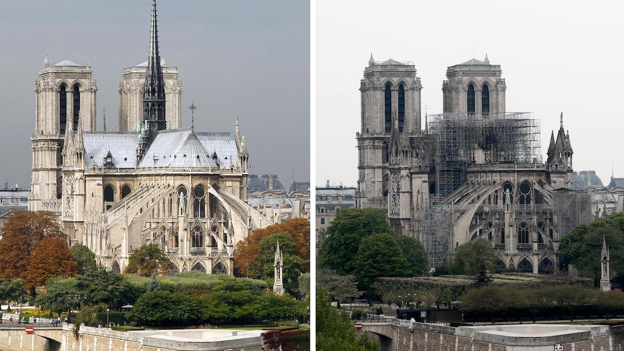 La photo de gauche montre Notre-Dame de Paris avant l'incendie, et la photo de droite la montre après le sinistre. On constate notamment l'absence de la flèche.