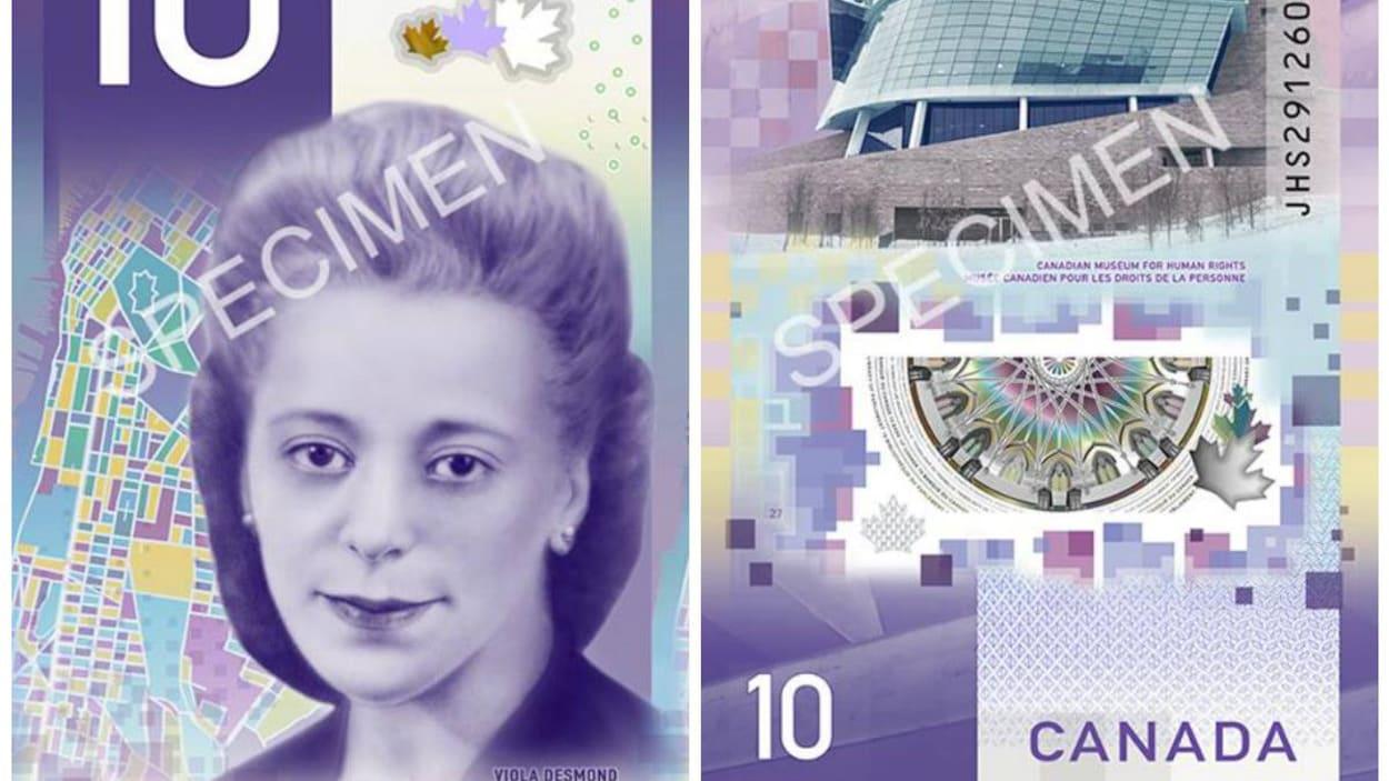 Nouveau 10$ canadien, photo de Viola Desmond