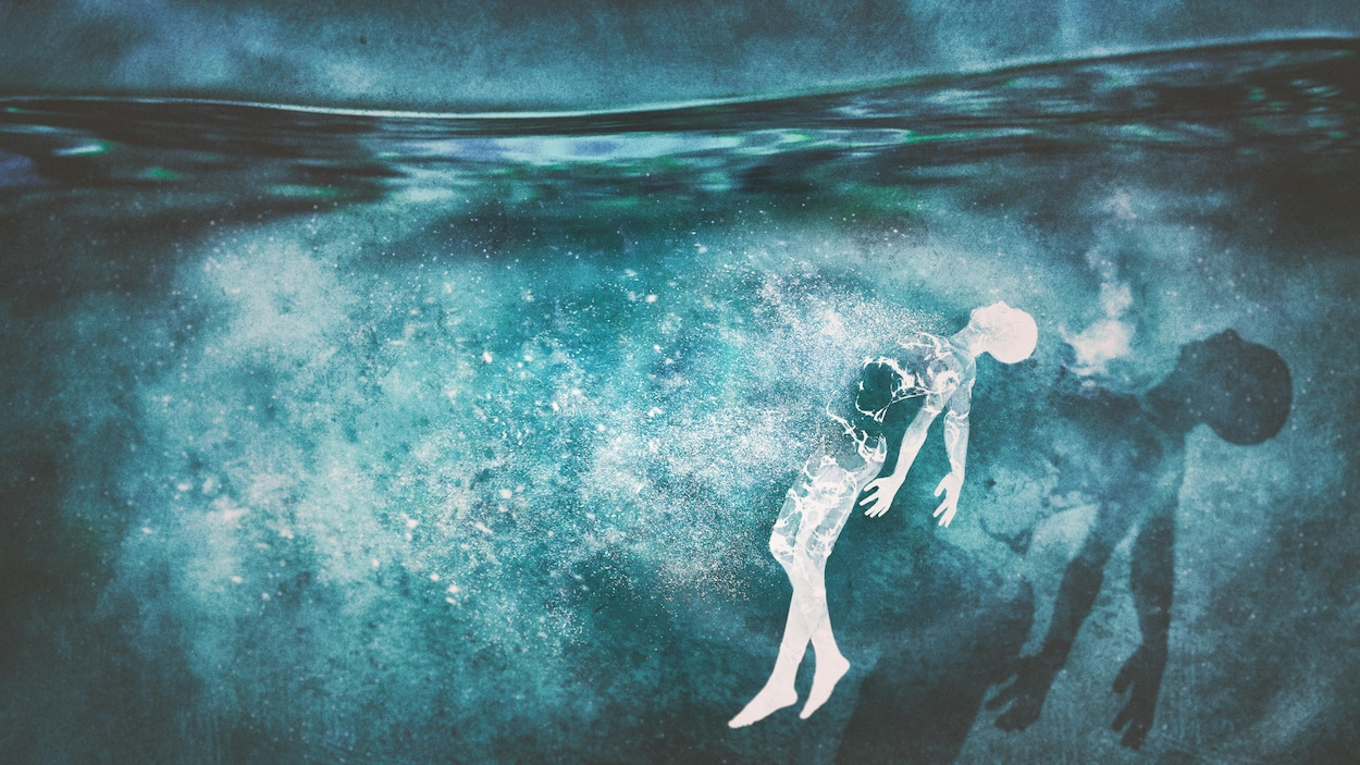 Un dessin d'un homme sous l'eau.