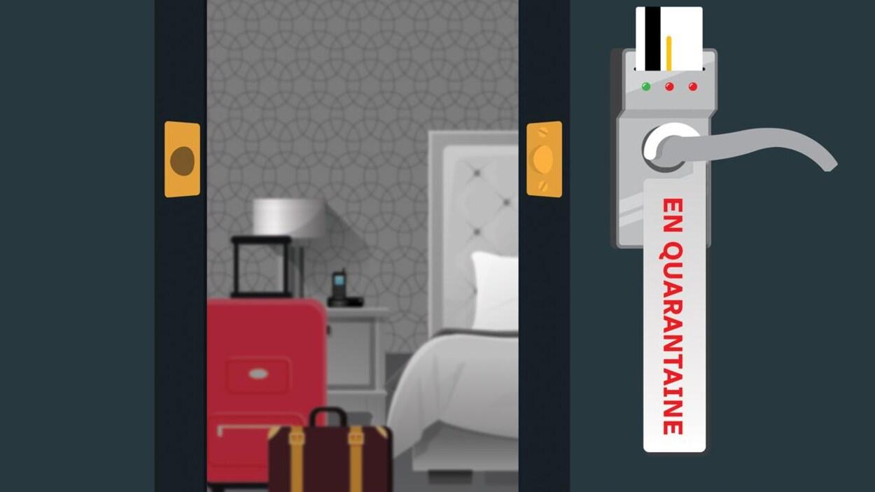 Une simulation d'une chambre d'hôtel de quarantaine où sont posées des valises.