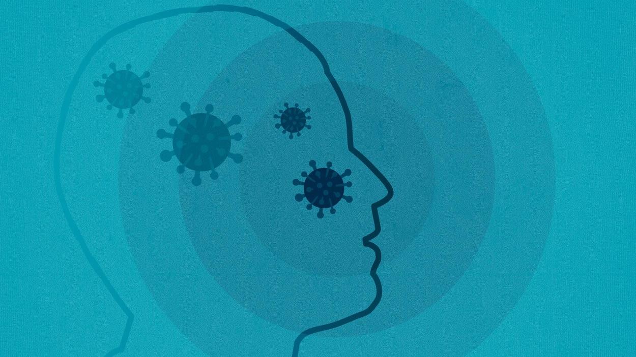 Infographie illustrant une silhouette de tête avec des molécules de covid.