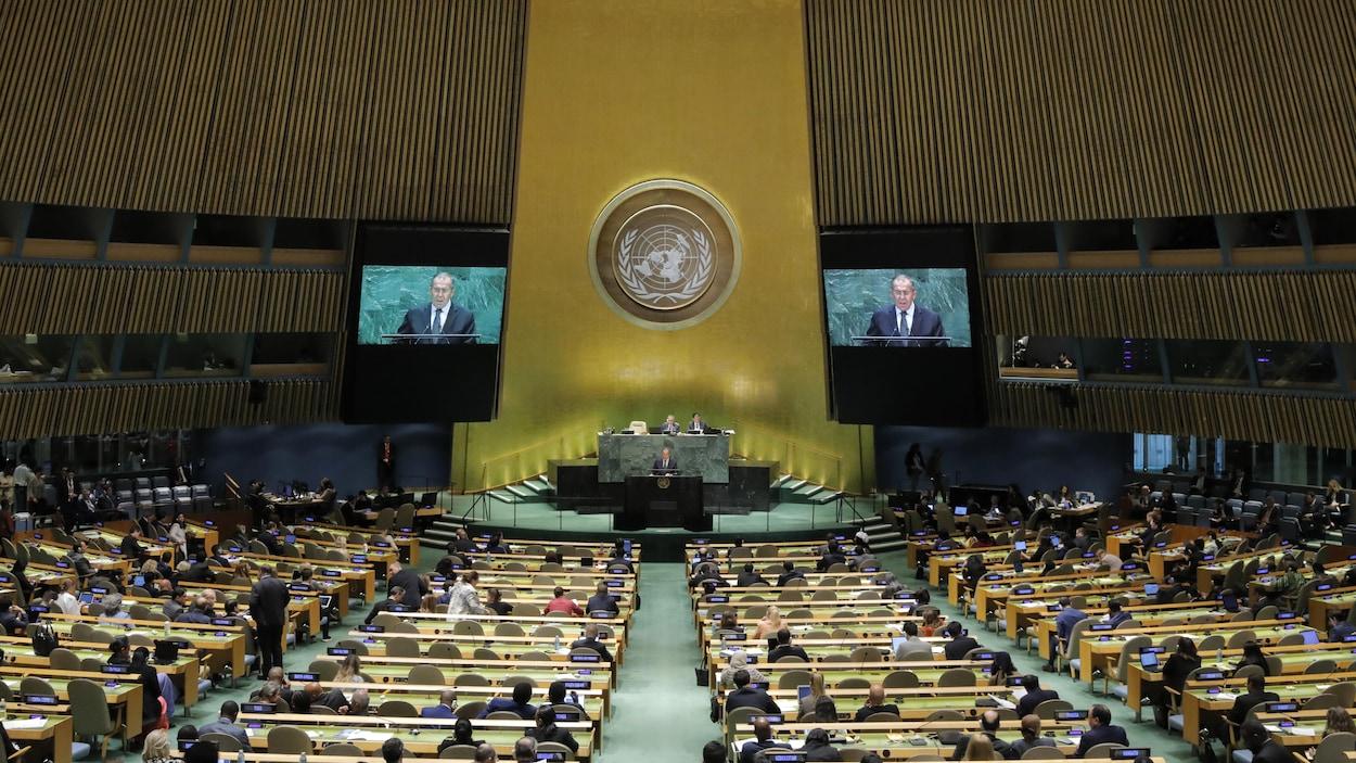 Assemblée générale des Nations unies au siège de l'ONU à New York.