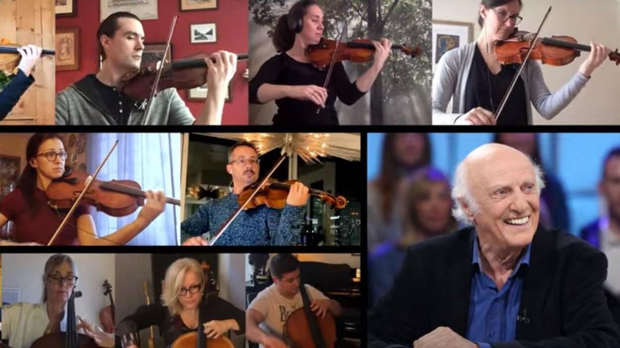 Gilles Vigneault et des membres de l'Orchestre métropolitain, qui jouent du violon ou du violoncelle.