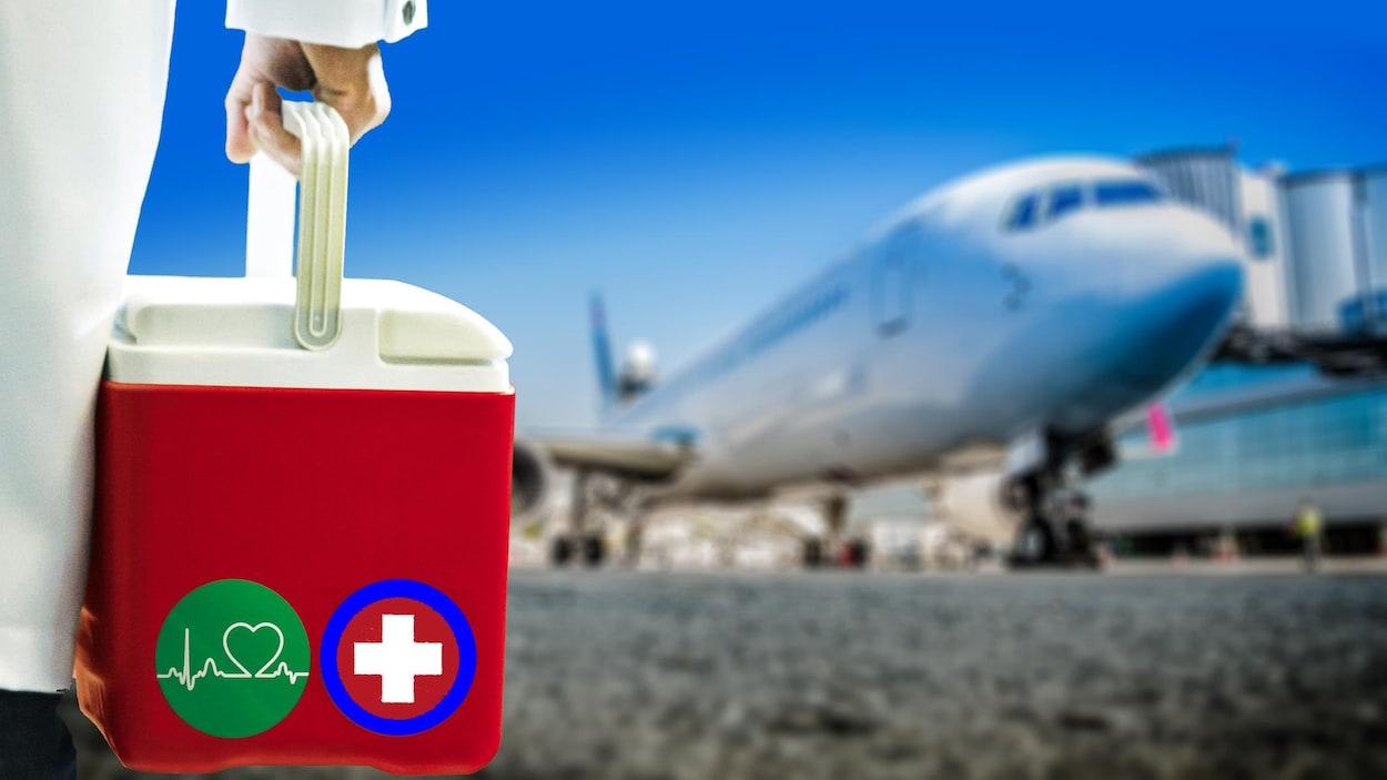 Un médecin transporte une glacière vers un avion.