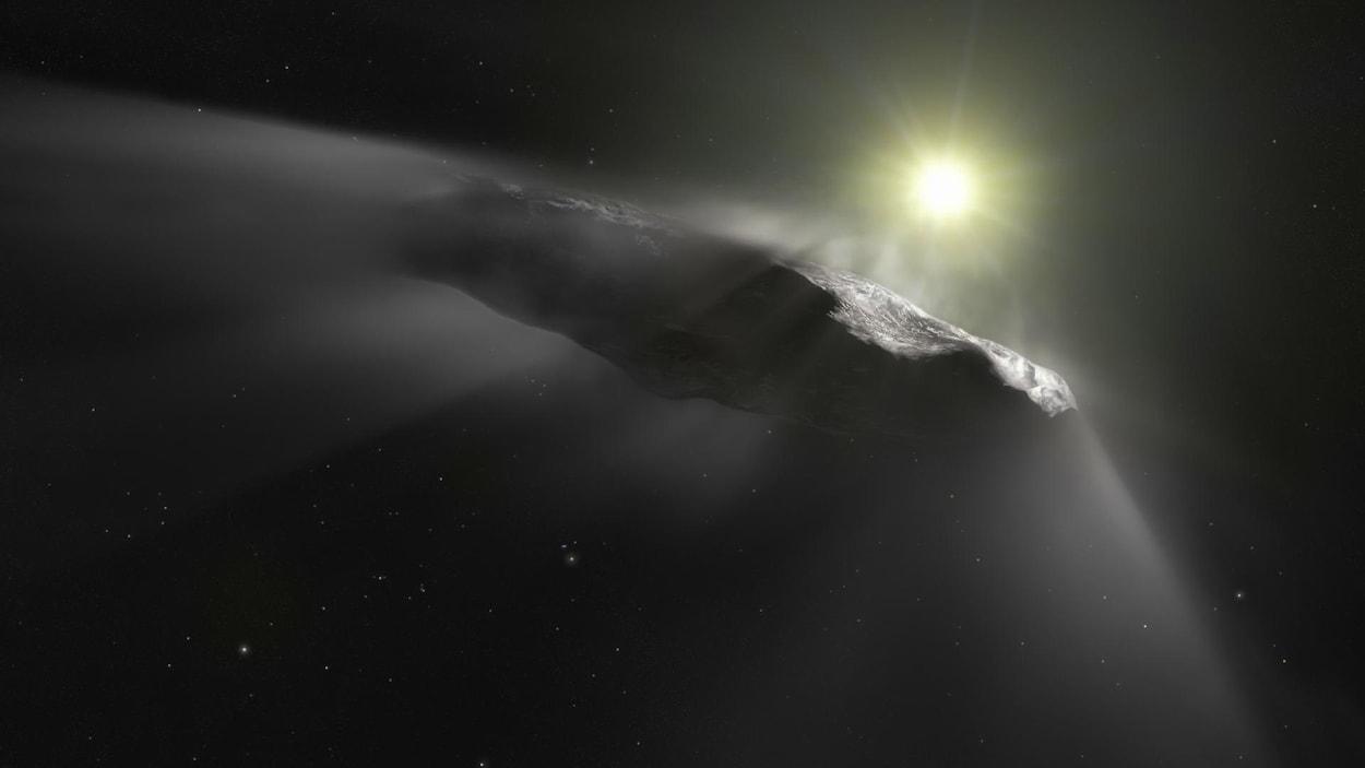Représentation artistique de la comète Oumuamua.
