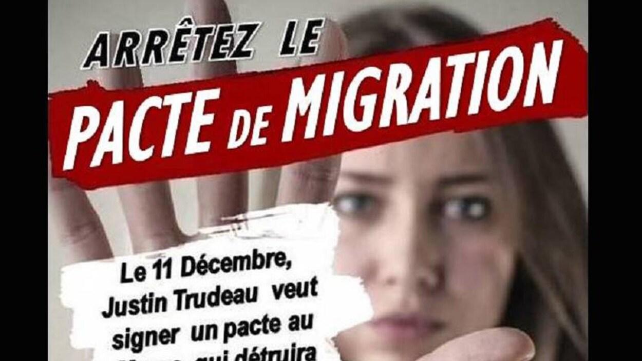 L'image montre une femme et les mots «arrêtez le pacte de migration».