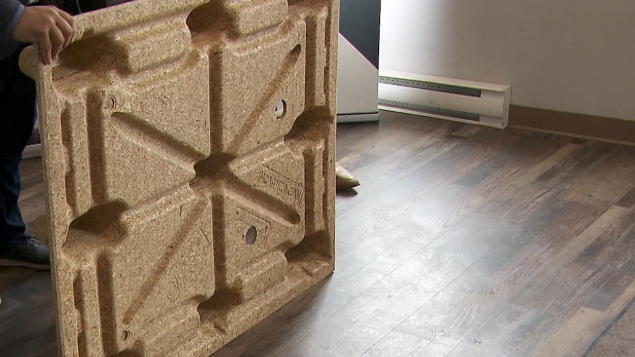 Une palette fabriquée à partir de copeaux de bois