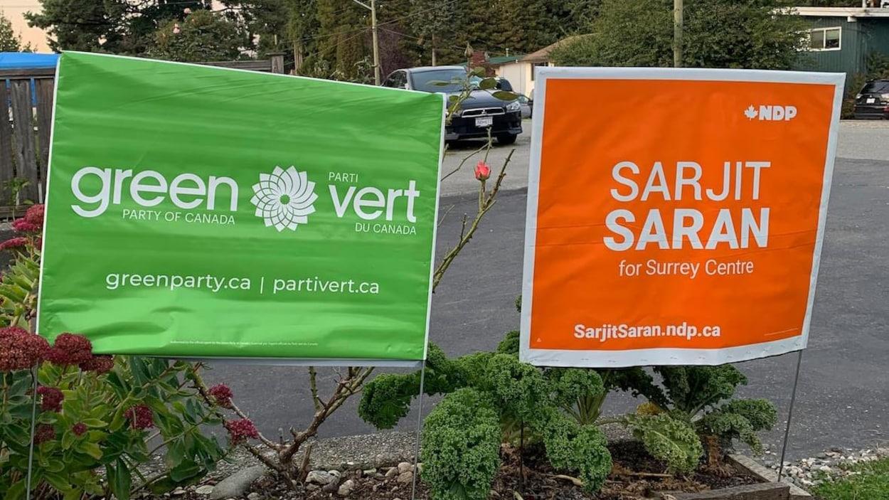 Une pancarte du parti vert et une pancarte du candidat du NPD dans Surrey-Centre Sarjit Saran sont plantées parmi des fleurs.