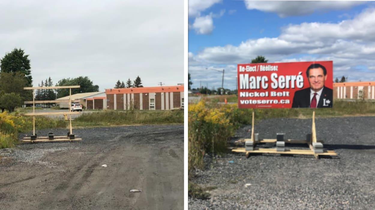Deux photos du même emplacement montrant une pancarte retirée et, dans le passé, la pancarte qui était présente.