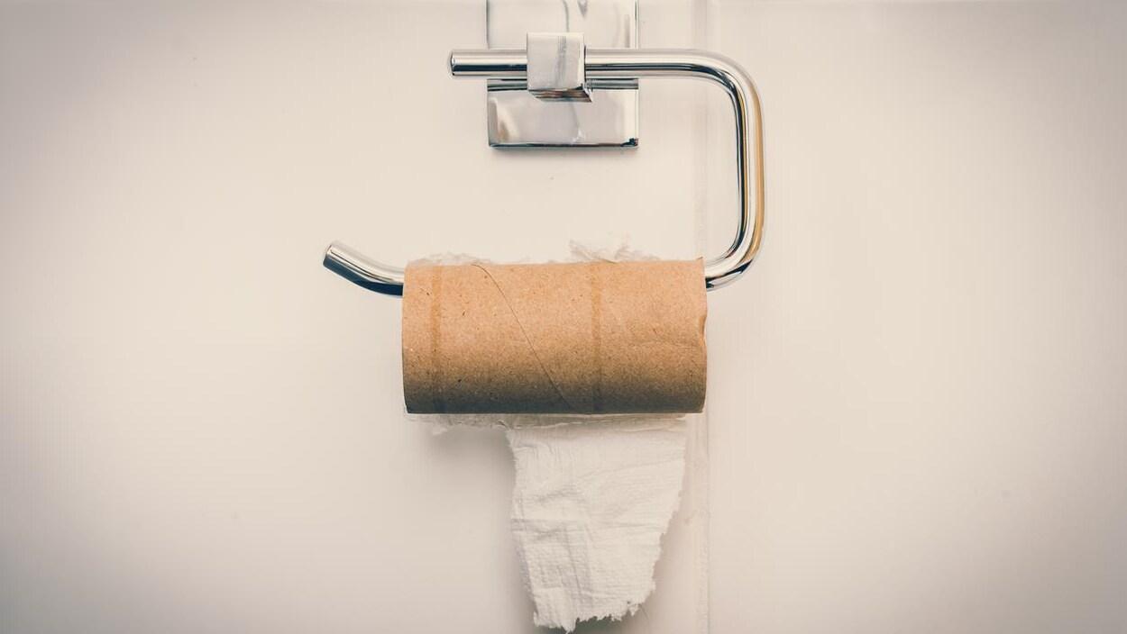 Un rouleau de papier toilette vide.