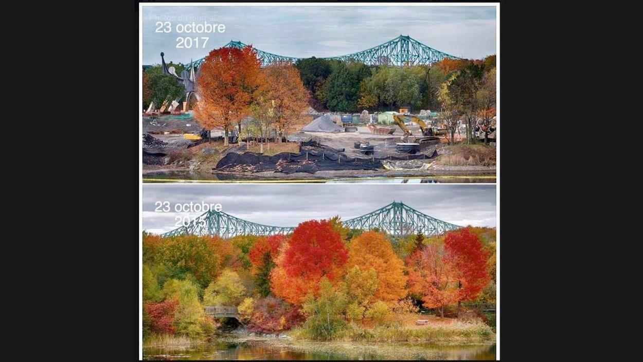 Dans la photo du haut, datée du 23 octobre 2017, on voit qu'il y a beaucoup moins d'arbres que dans la photo du bas, datée du 23 octobre 2015. De plus, il y a plusieurs machines de construction sur le site.