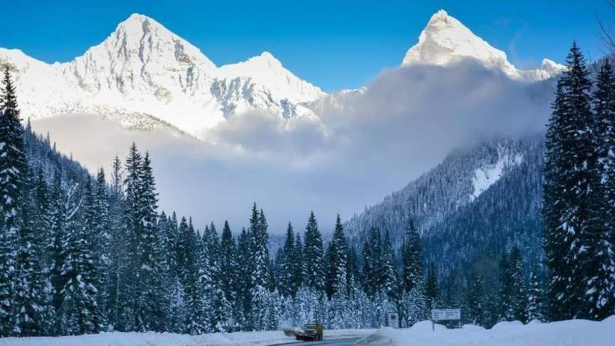 Une déneigeuse déblaie une route bordée de grands sapins, au pied de montagnes couvertes de neige.
