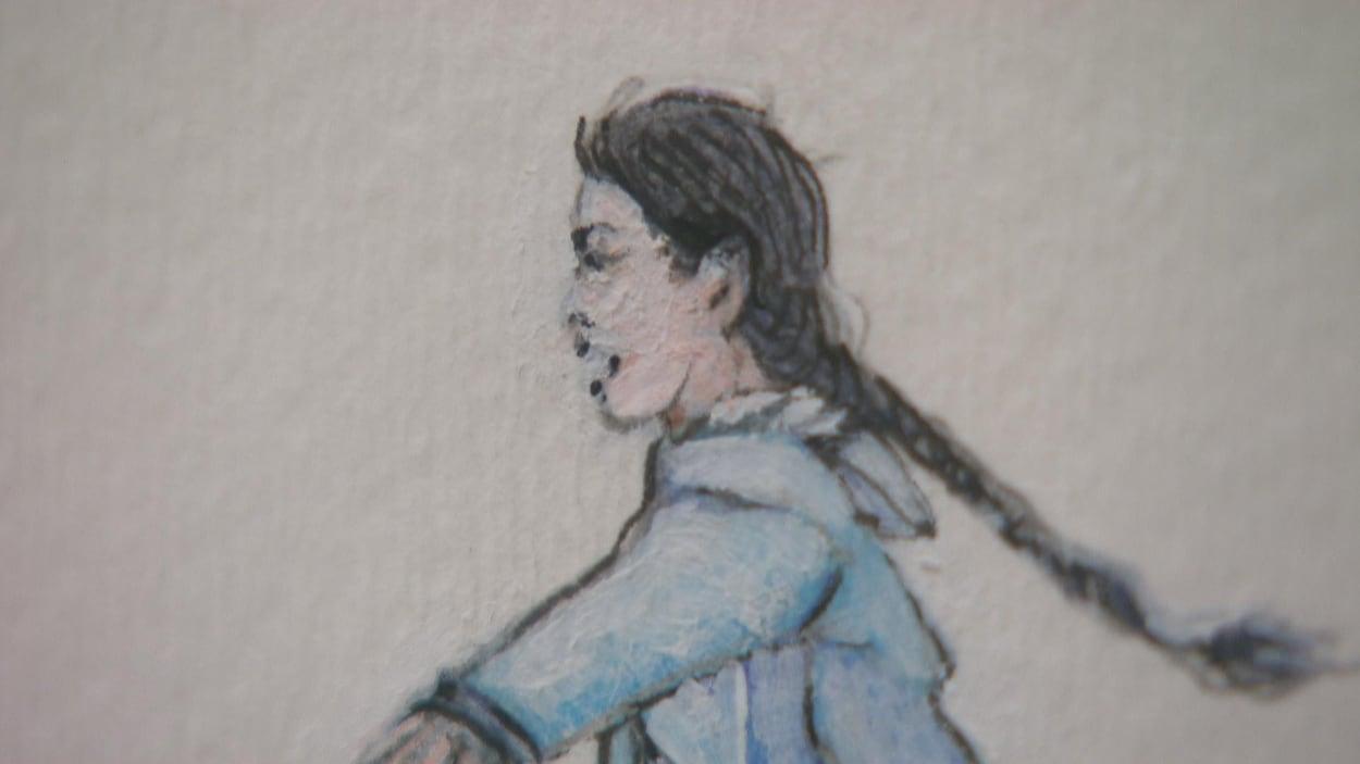 Dessin représentant une jeune fille en train de courir.