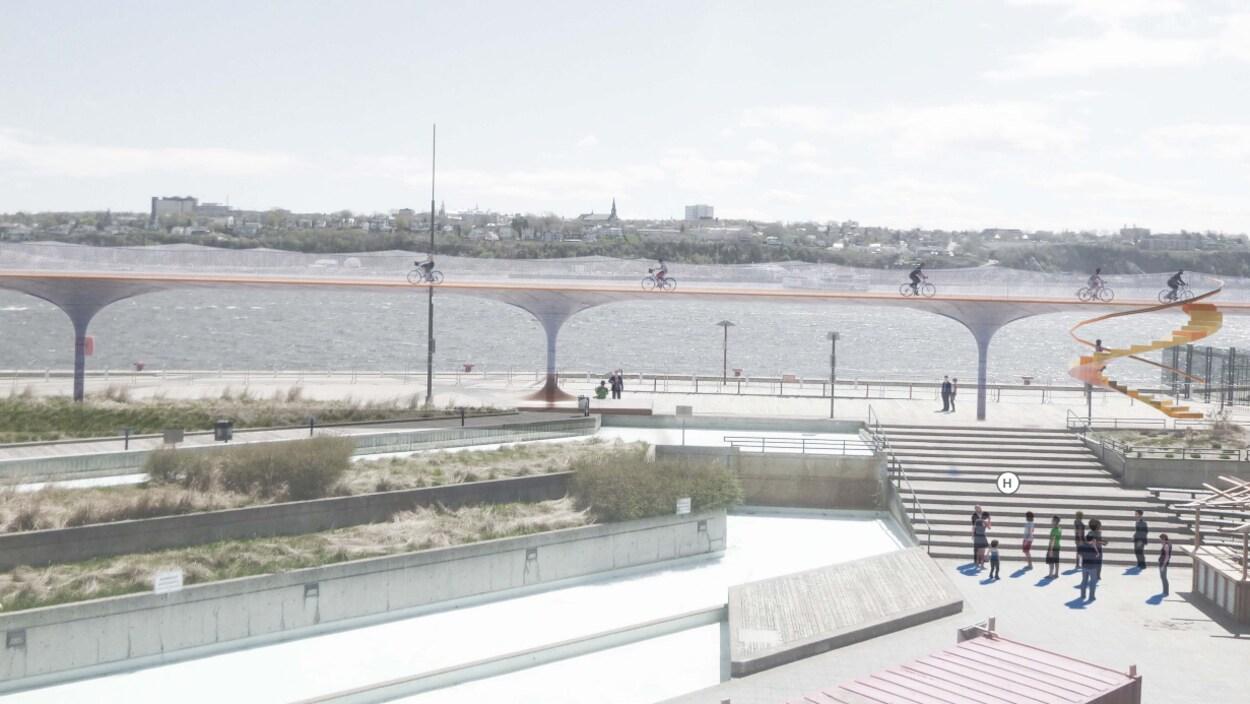 Esquisse de la passerelle cyclable qui sera aménagée dans le Vieux-Port.