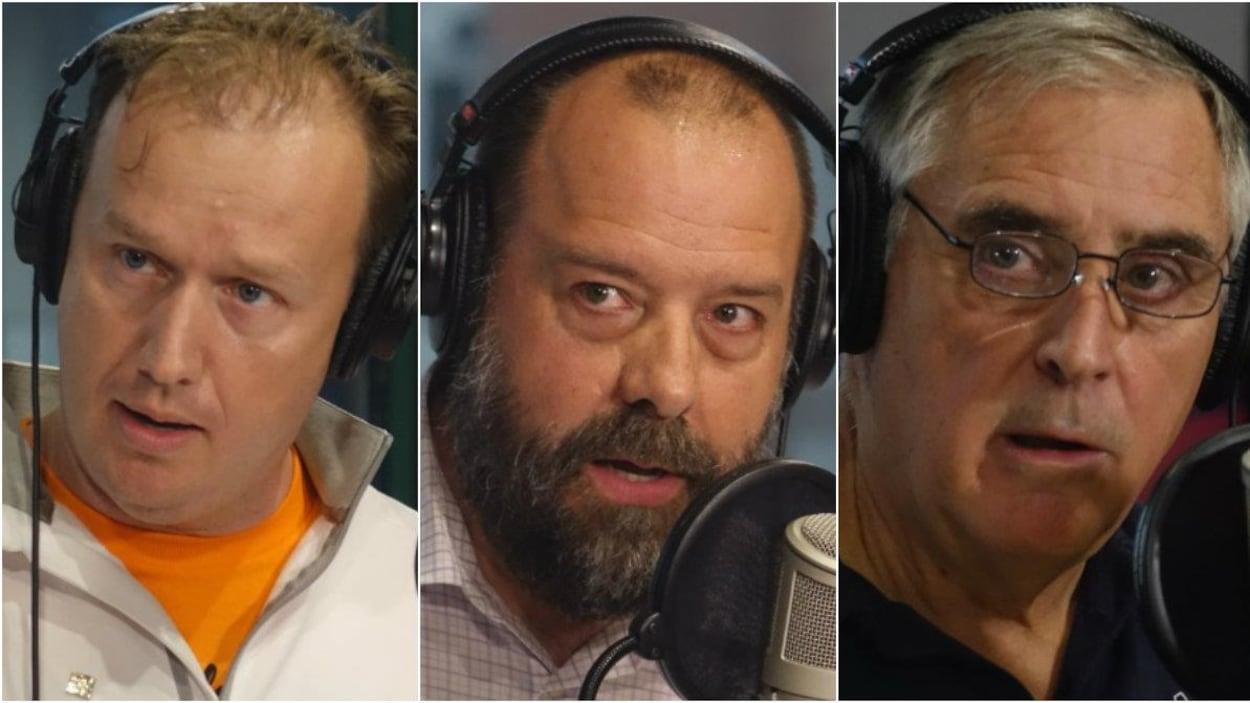Trois hommes qui portent des écouteurs
