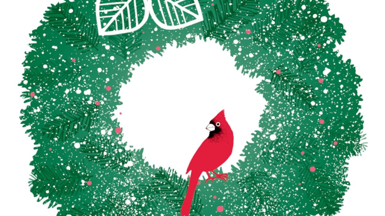 Illustration de Noël des magasins Simons, signée Paule Thibault. On y aperçoit une couronne de Noël sur laquelle sont posés deux cardinaux.