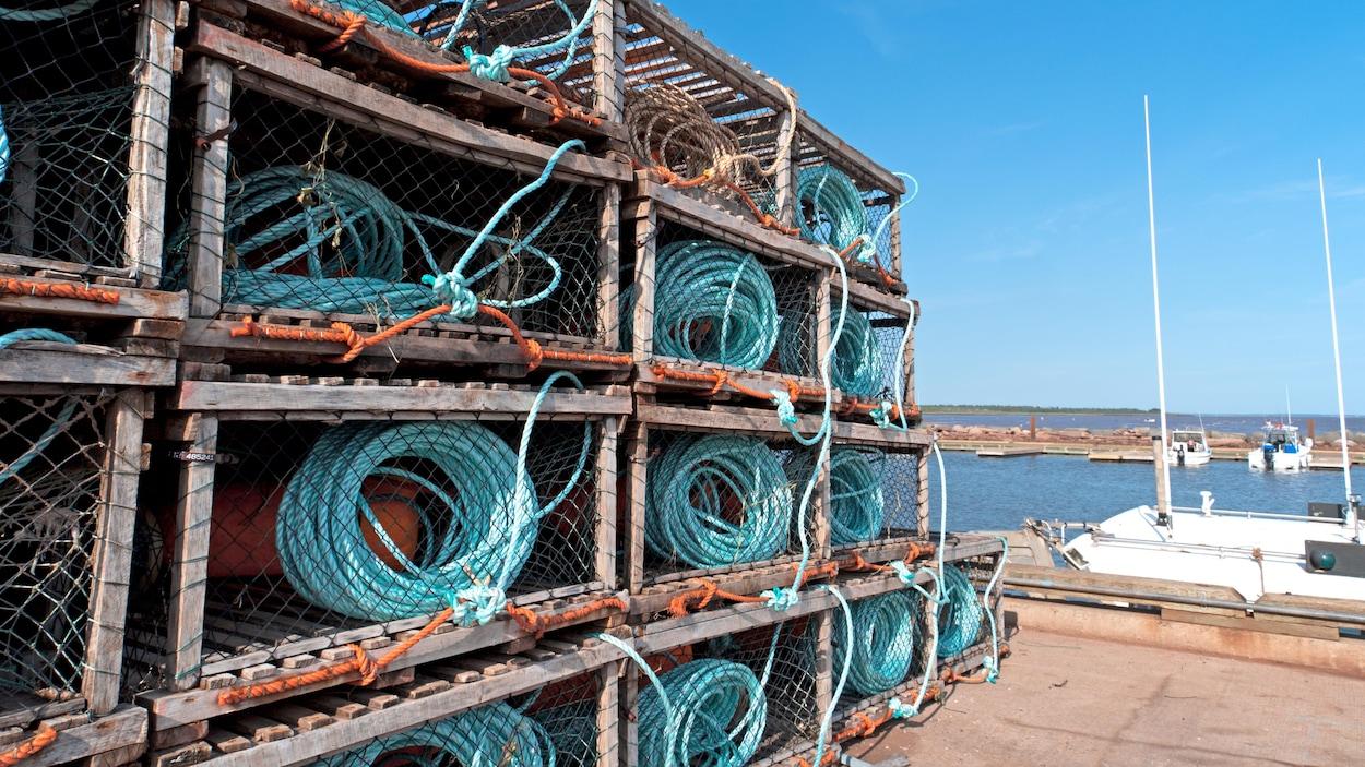 Des casiers à homard sur un quai.
