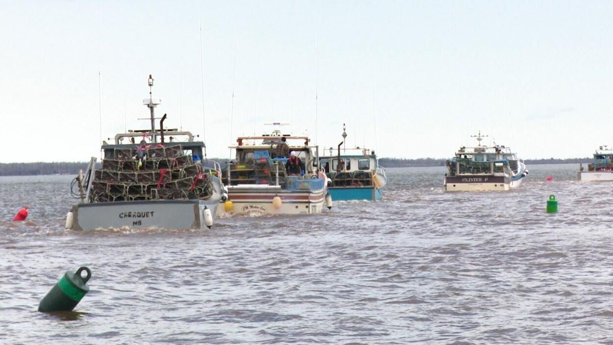 Des bateaux de pêche au homard prennent la mer à Pigeon Hill, dans la Péninsule acadienne.
