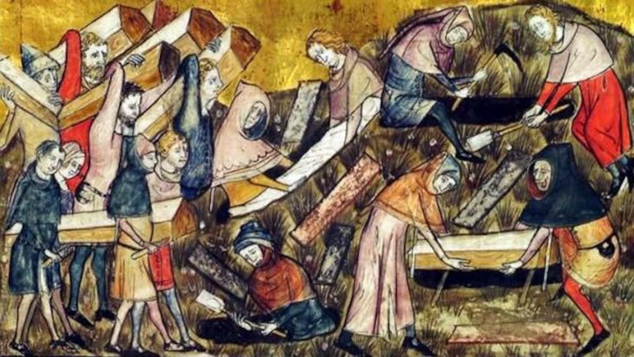 Une illustration représentant un enterrement de victimes de la peste en Belgique.