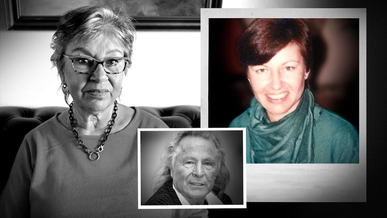 À gauche, une photo actuelle de Jonna Laursen avec, à droite, une photo de Jonna Laursen dans les années 80 et une photo de Peter Nygard au milieu.
