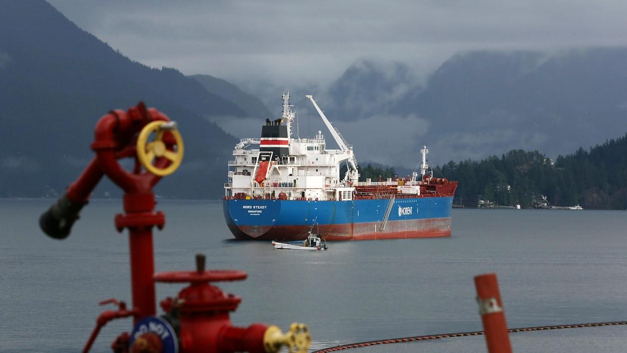 Un pétrolier est amarré au large d'une côte de la Colombie-Britannique sous un ciel nuageux.