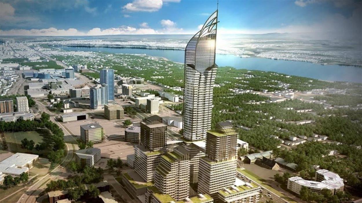 Dans sa première version présentée en 2015, le projet comprenait un gratte-ciel de 65 étages et quatre autres bâtiments.
