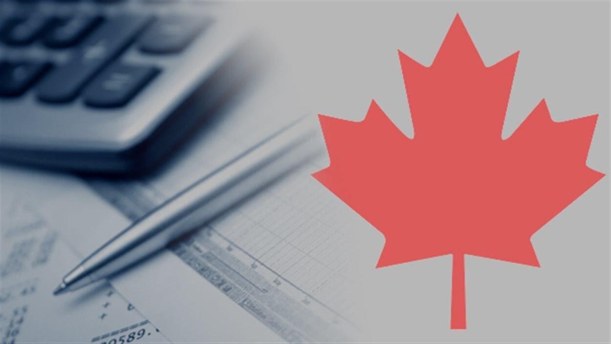 La feuille d'érable du drapeau canadien avec, en fond, une calculatrice, un stylo et des formulaires de comptabilité.