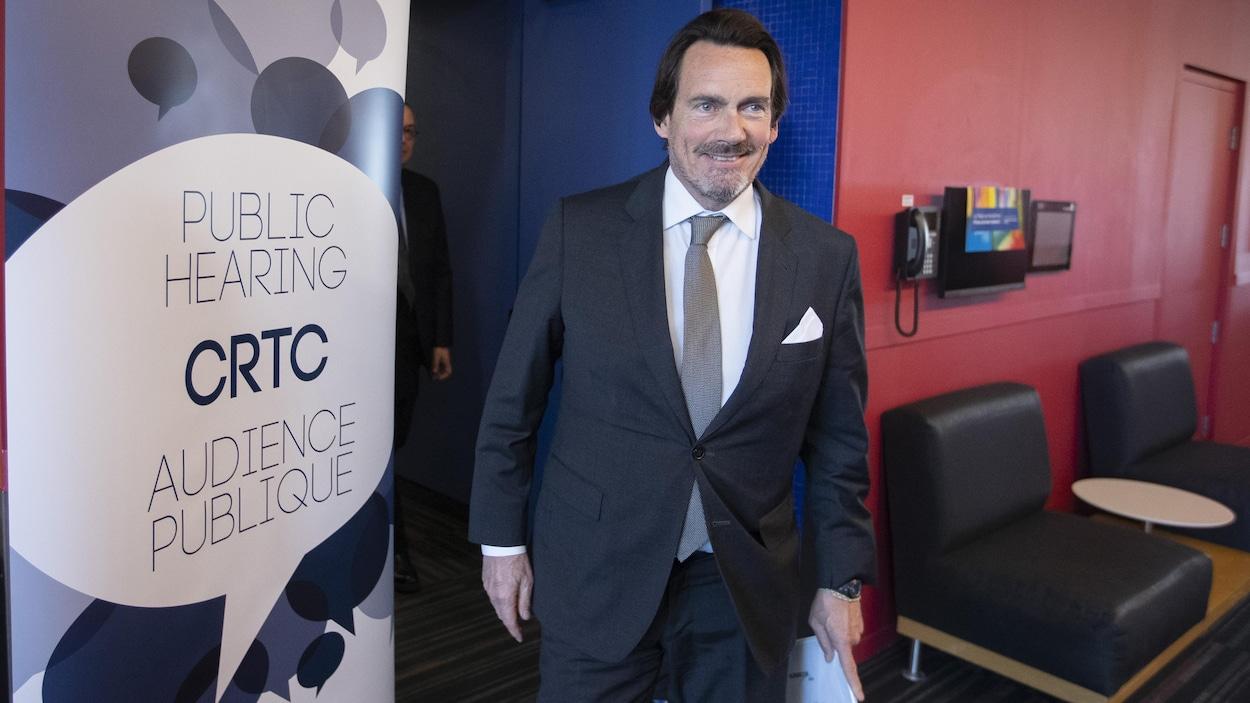 Pierre Karl Péladeau lors de sa comparution devant le CRTC.
