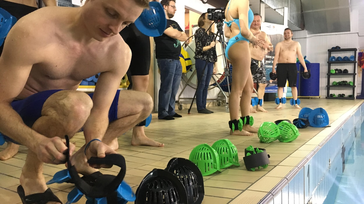 L'équipement Aqualogix est simple en apparence, mais les participants affirment que l'effort est bien réel.