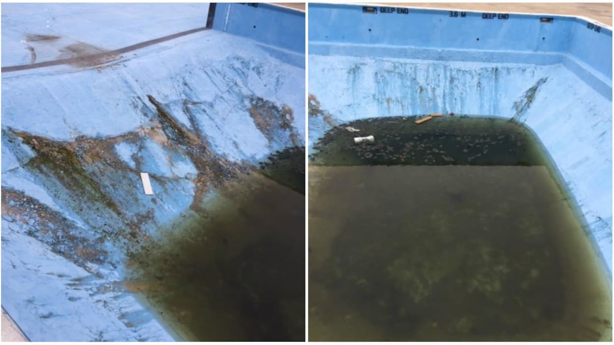 Un collage de deux images d'une piscine bleue en très mauvais état.