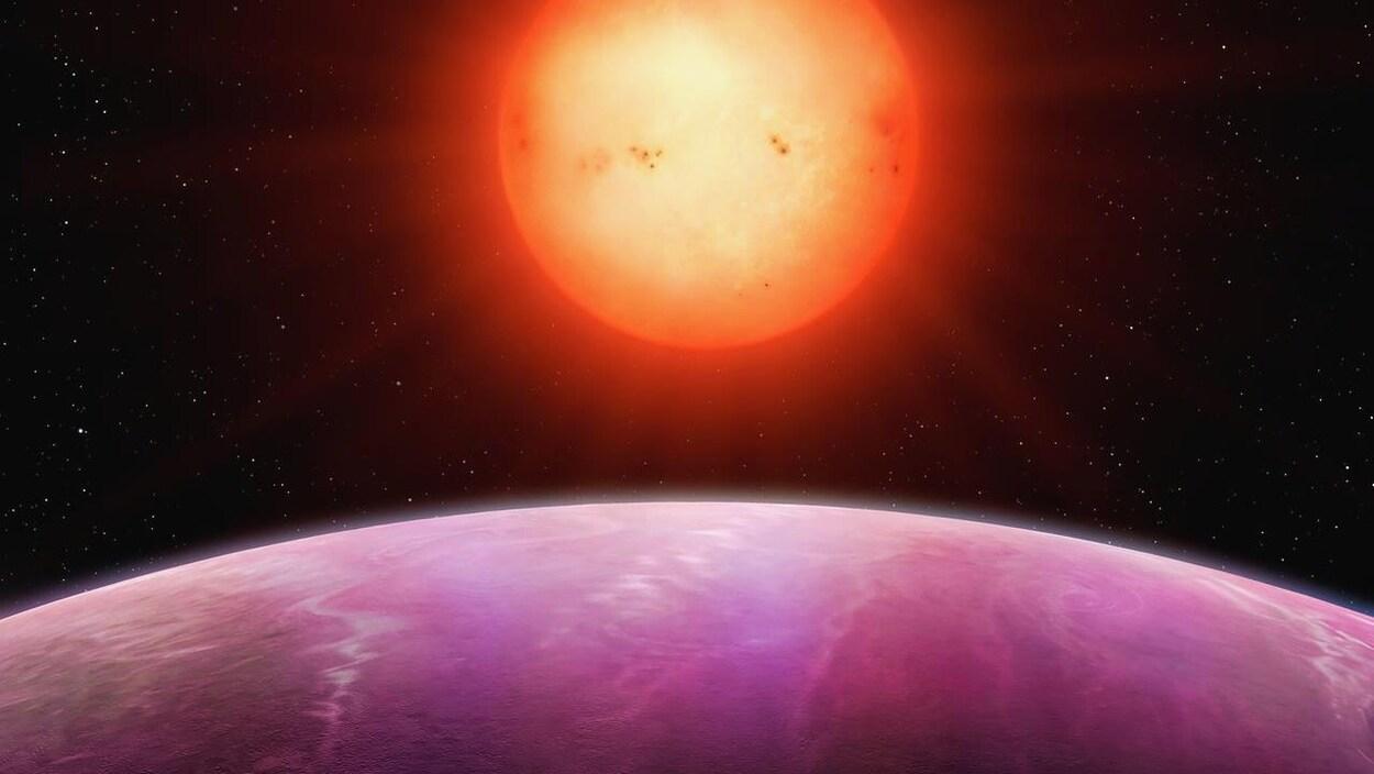 Reconstitution artistique de l'étoile naine NGTS-1 et de la planète en orbite autour d'elle.
