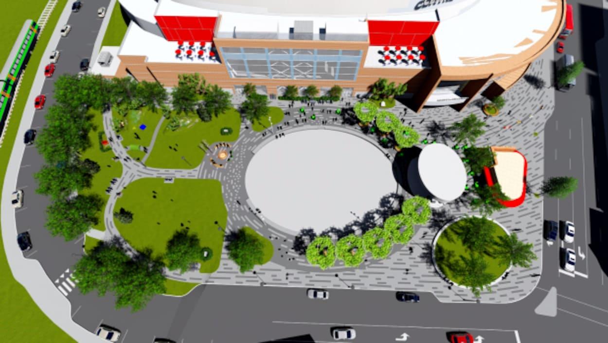 Plan de la nouvelle place du centre-ville à Moncton.